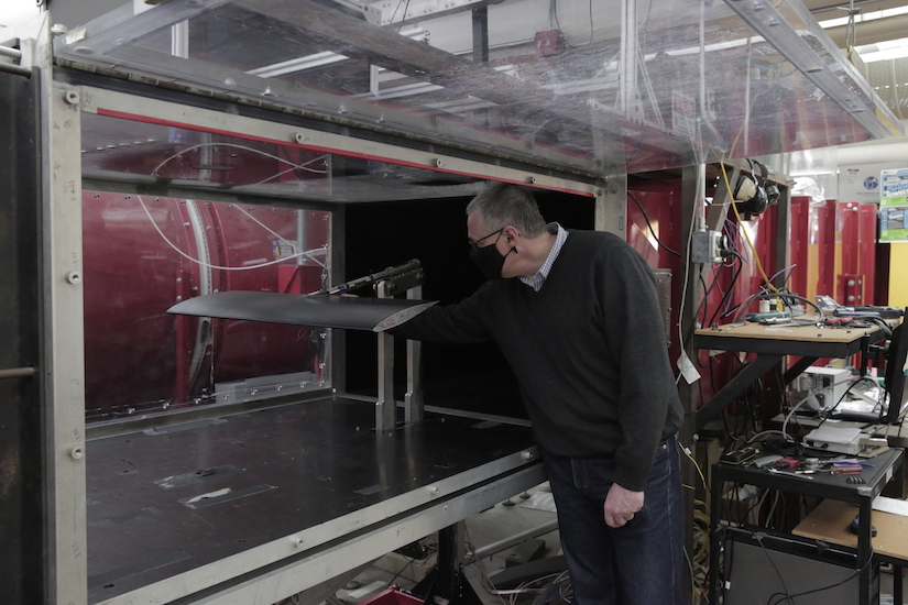 Professor Riccardo Bonazza works with the wind tunnel at the UW-Madison College of Engineering.